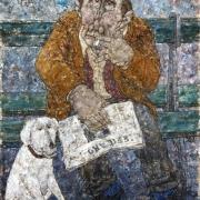 Homme au journal avec son chien